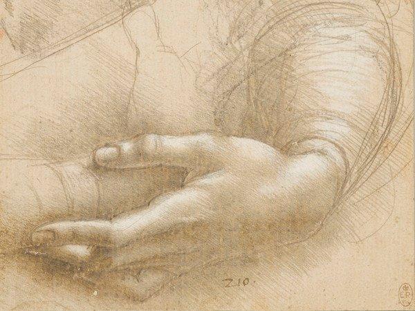 Estudo de braços e  mãos femininas proveniente do Castelo de Windsor. Leonardo da Vinci